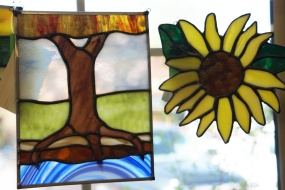 Judy Dodson's stained glass at Prairie PastTimes