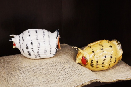 Candace Sherman's ceramic prairie chickens at Prairie PastTimes