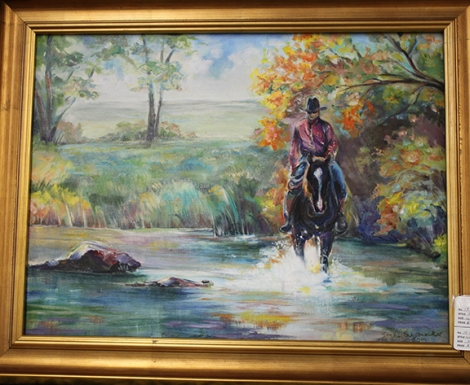 irene man riding horse painting